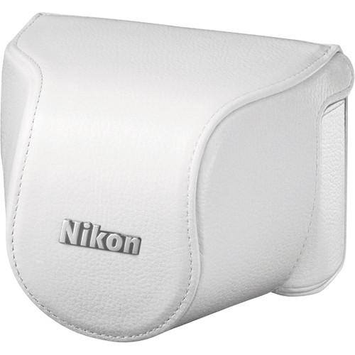 Nikon Leather Body Case Set for Nikon 1 J1 Camera with 10-30mm Lens (White)