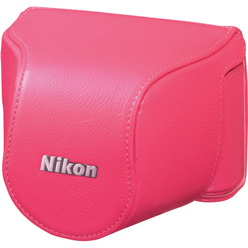 Nikon Leather Body Case Set for Nikon 1 J1 Camera with 10-30mm Lens (Pink)