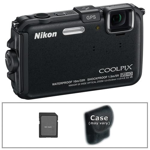 Nikon COOLPIX AW100 Waterproof Digital Camera with Basic Accessory Kit (Black)
