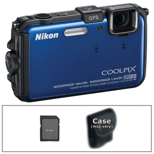 Nikon COOLPIX AW100 Waterproof Digital Camera with Basic Accessory Kit (Blue)