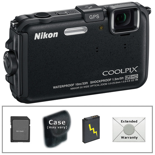 Nikon COOLPIX AW100 Waterproof Digital Camera with Deluxe Accessory Kit (Black)