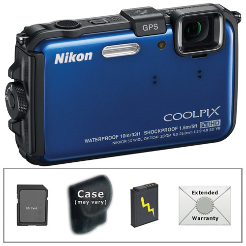 Nikon COOLPIX AW100 Waterproof Digital Camera with Deluxe Accessory Kit (Blue)