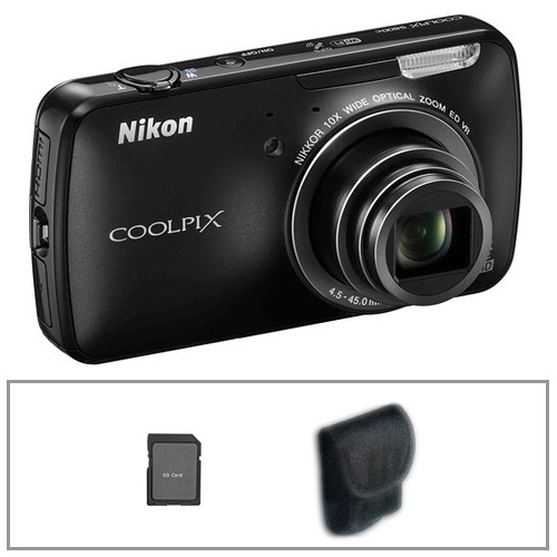 Nikon COOLPIX S800c Digital Camera with Basic Accessory Kit (Black)