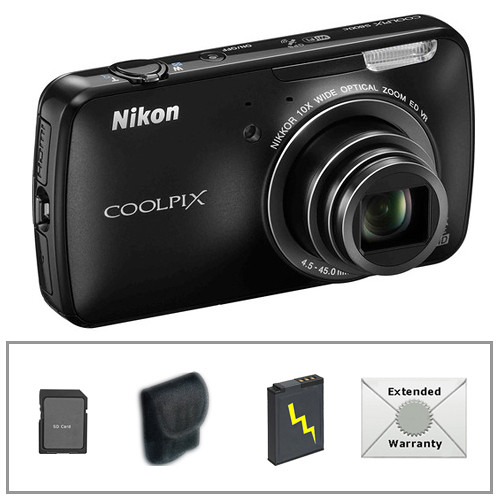 Nikon COOLPIX S800c Digital Camera with Deluxe Accessory Kit (Black)