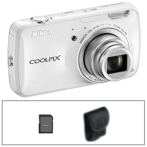 Nikon COOLPIX S800c Digital Camera with Basic Accessory Kit (White)