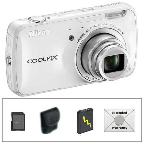 Nikon COOLPIX S800c Digital Camera with Deluxe Accessory Kit (White)