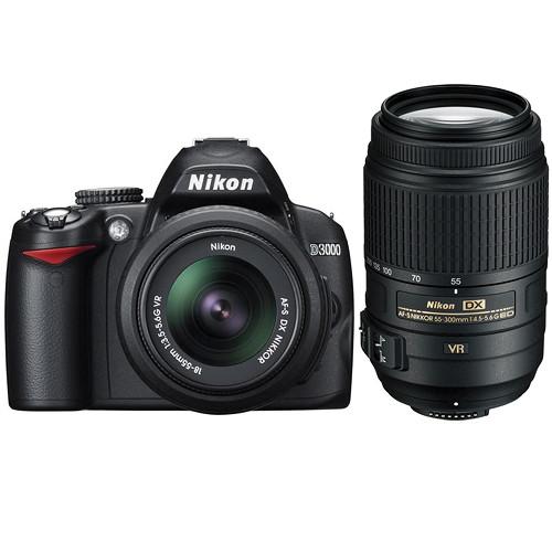 Nikon D3000 SLR Camera Kit 18-55mm & 55-300mm VR Lenses with Deluxe Kit