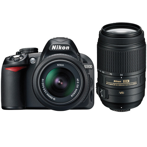 Nikon D3100 SLR Camera Kit with 18-55mm & 55-300mm VR Lenses & Deluxe Kit