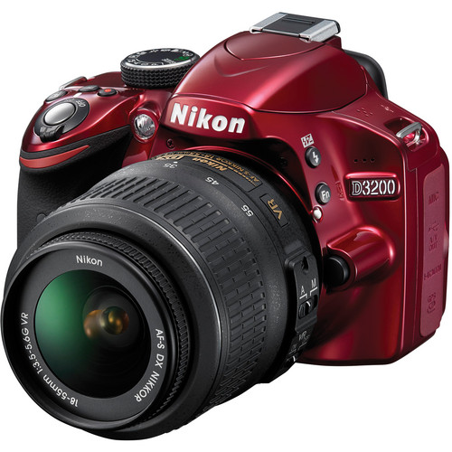 Nikon D3200 DSLR Camera with 18-55mm Lens Deluxe Kit (Red)
