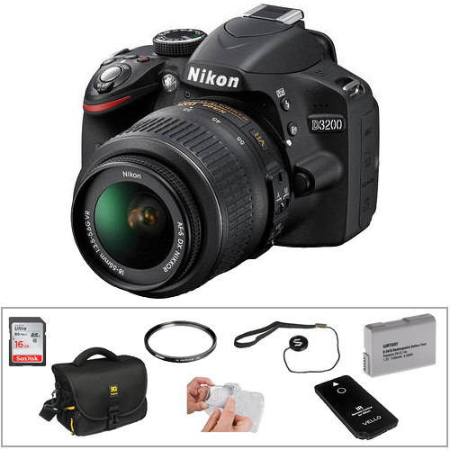 Nikon D3200 DSLR Camera with 18-55mm Lens Basic Kit (Black)