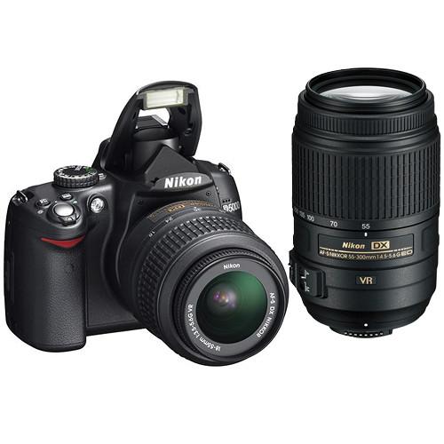 Nikon D5000 SLR Camera Kit 18-55mm & 55-300mm VR Lenses with Deluxe Kit