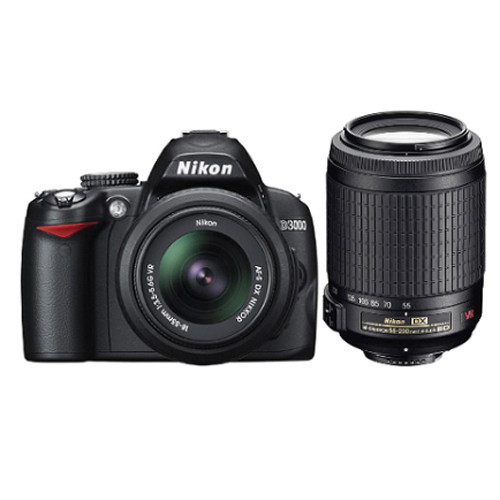 Nikon [Refurbished] D3000 SLR Digital Camera w/18-55mm VR & 55-200mm VR Lenses Deluxe Kit