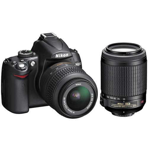 Nikon [Refurbished] D5000 Digital SLR Camera with 18-55mm VR & 55-200mm VR Deluxe Kit