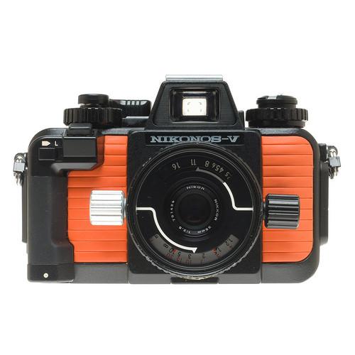 Nikonos V Body (Orange) with 35mm f2.5 with Ikelite Substrobe A100 (Orange) and Hard Case