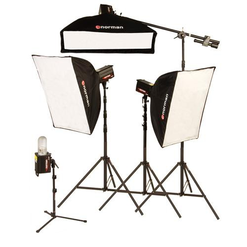 "Norman 4 ""R"" Monolight, 3 Softbox Studio Boom Kit (120VAC)"