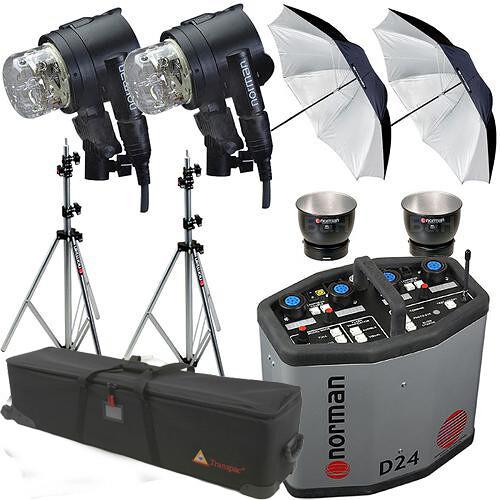Norman D24R Pack, 2- IL2500 Head/Reflector, Stands, Umbrellas, Case Kit (115VAC)