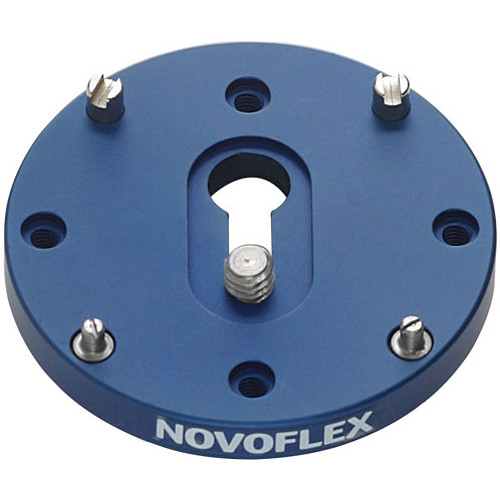 """Novoflex QPL-6x6 Arca-Type Quick Release Plate for Q-Base System, 2.4"""" Round for Medium Format - with 1/4-20 & 3/8"""" Screws and Anti-Twist Pins"""
