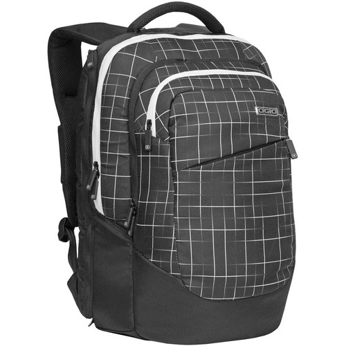 OGIO Newt Backpack (Black with White Grid Pattern)