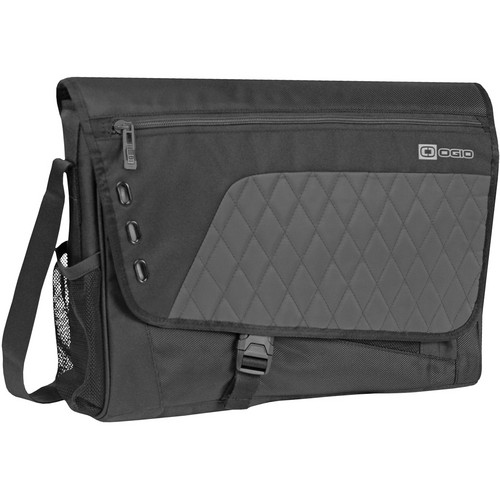 "OGIO Vault Medium Messenger Shoulder Bag with 16"" Laptop Pocket (Carbon Steel, Black/Gray)"