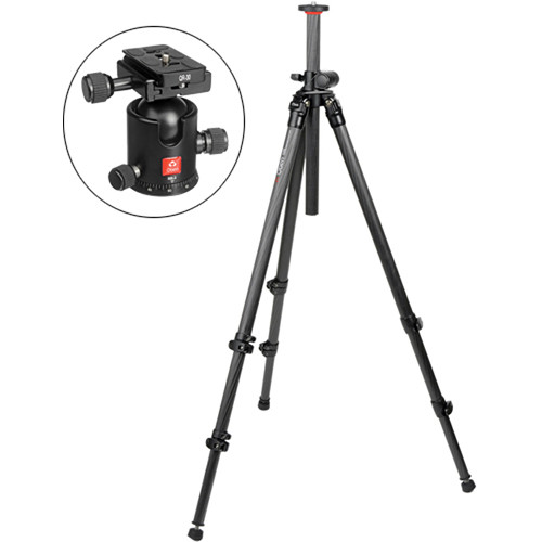 Oben CC-2320L 3-Section Carbon Fiber Lateral Tripod with BB-2 Ball Head Kit