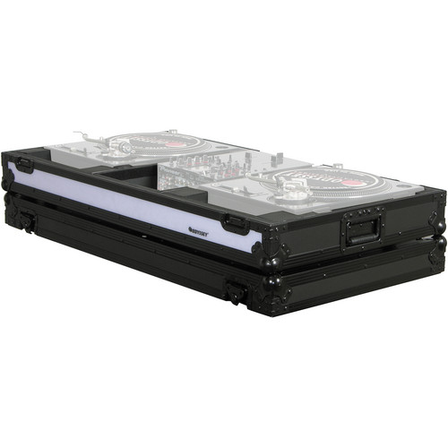 "Odyssey Innovative Designs FFXBM10WBL Flight FX Series Turntable DJ Coffin for Two Turntables in Battle Mode and 10"" Width Mixer"