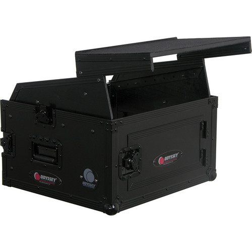 Odyssey Innovative Designs FZGS1004BL Black Label Flight Zone Glide Style Combo Rack - 10U Over 4U (Black)
