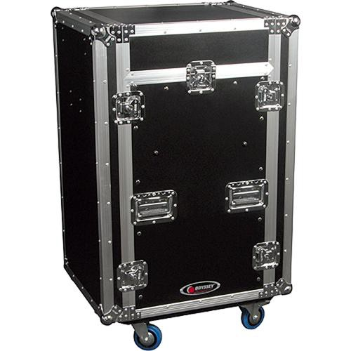 Odyssey Innovative Designs FZGS1116WDLX Flight Zone Glide Style Slanted Combo Rack Case (Black and Chrome)