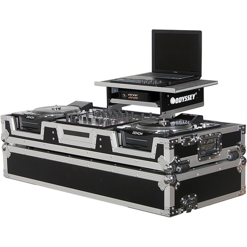 Odyssey Innovative Designs FZGS12CDJW Flight Zone Glide Style Laptop DJ CD Mixer Coffin with Wheels