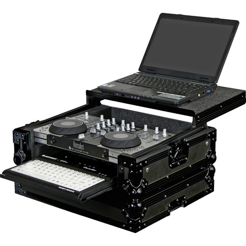 Odyssey Innovative Designs FZGS4MXGTBL Hercules 4-Mx Black Label Glide Style DJ Controller Case with Bottom Pullout Tray (Black)