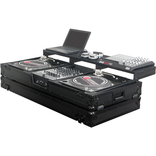 Odyssey Innovative Designs FZGSPBM12WBL Black Label Remixer Glide Style Series: Turntable DJ Coffin (Black)