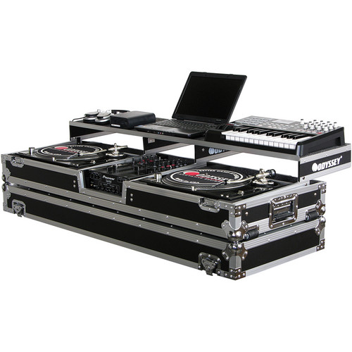 Odyssey Innovative Designs FZGSPDJ10W Remixer Glide Style Series Turntable DJ Coffin (Black/Silver)