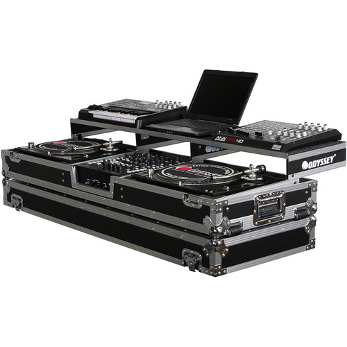 Odyssey Innovative Designs FZGSPDJ12W Remixer Glide Style Series Turntable DJ Coffin (Black/Silver)