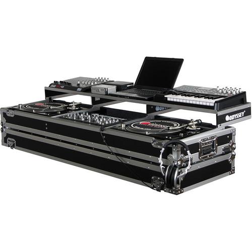 Odyssey Innovative Designs FZGSPDJ19W Remixer Glide Style Series CD/Digital Media DJ Coffin (Black/Silver)