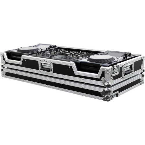 Odyssey Innovative Designs FZPI22000W Flight Zone Series DJ Coffin for a Pioneer DJM-2000 DJ Mixer and 2 Large Format Tabletop CD Digital Media Players (Black/Chrome)