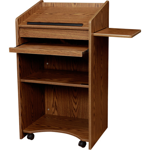 Oklahoma Sound Aristocrat Full-Floor Lectern  #600 (Med. Oak Laminate)