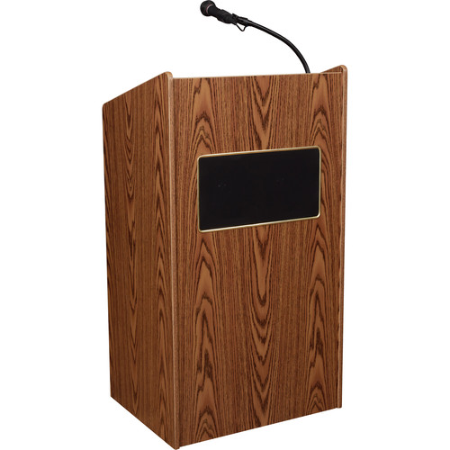Oklahoma Sound Aristocrat Floor Lectern with Sound System (Medium Oak Laminate)