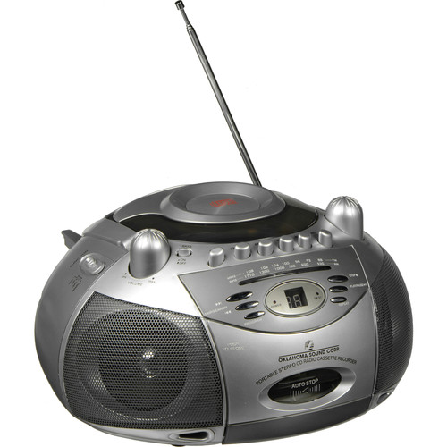 Oklahoma Sound LC1300 Boombox-Style CD/Tape Player and Recorder