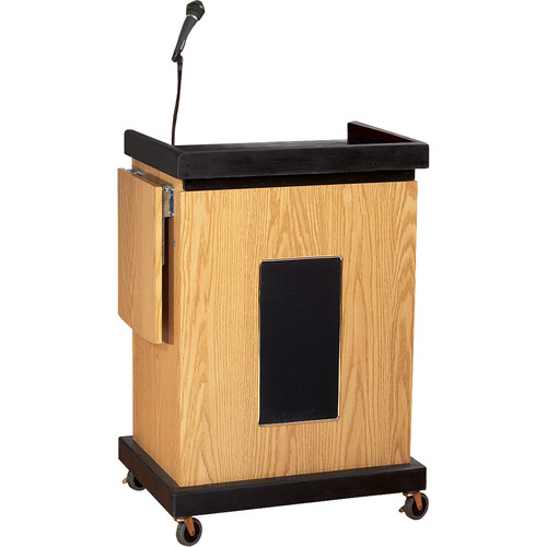 Oklahoma Sound Smart Cart Lectern with Sound System (Light Oak)