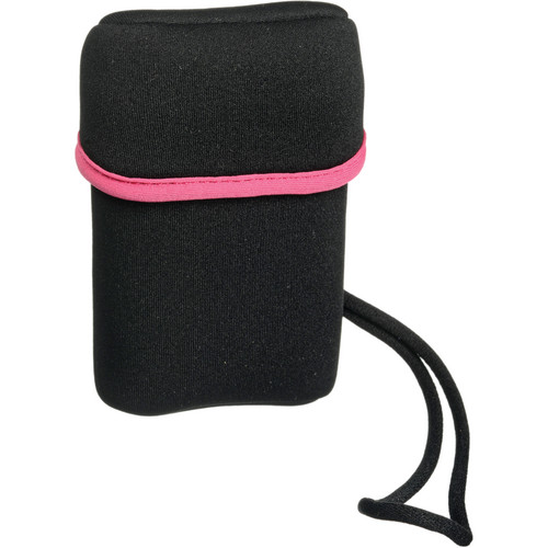 Olympus Neoprene Compact Camera Case with Wrist Strap - Black (Pink Trim)