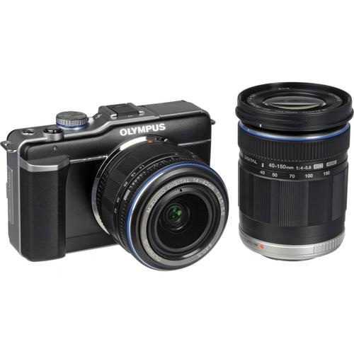 Olympus PEN E-PL1 Digital Camera (Black) W/14-42mm & 40-150mm Lens