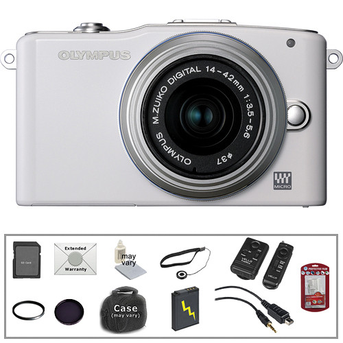 Olympus E-PM1 Mirrorless Micro Four Thirds Digital Camera Kit with 14-42mm f/3.5 - 5.6 II Lens and Deluxe Accessories (White)