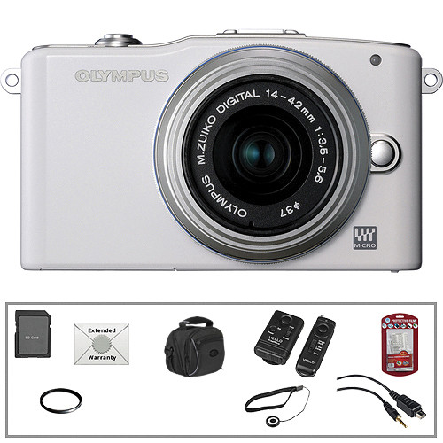 Olympus E-PM1 Mirrorless Micro Four Thirds Digital Camera Kit with 14-42mm f/3.5 - 5.6 II Lens and Basic Accessories (White)