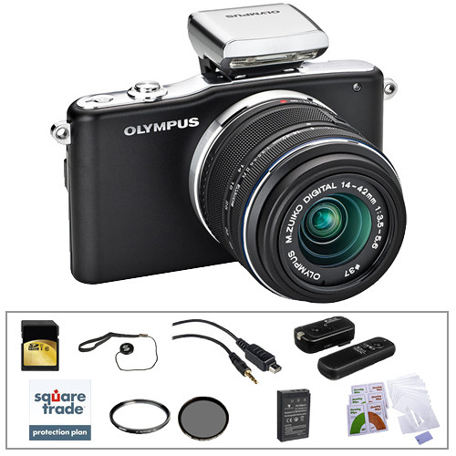 Olympus E-PM1 Mirrorless Micro Four Thirds Digital Camera Kit with 14-42mm f/3.5 - 5.6 II Lens and Deluxe Accessories (Black)