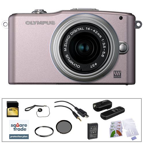 Olympus E-PM1 Mirrorless Micro Four Thirds Digital Camera Kit with 14-42mm f/3.5 - 5.6 II Lens and Deluxe Accessories (Pink)