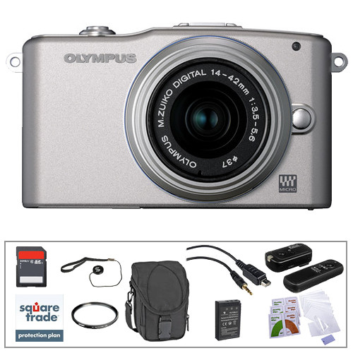 Olympus E-PM1 Mirrorless Micro Four Thirds Digital Camera Kit with 14-42mm f/3.5 - 5.6 II Lens and Basic Accessories (Silver)