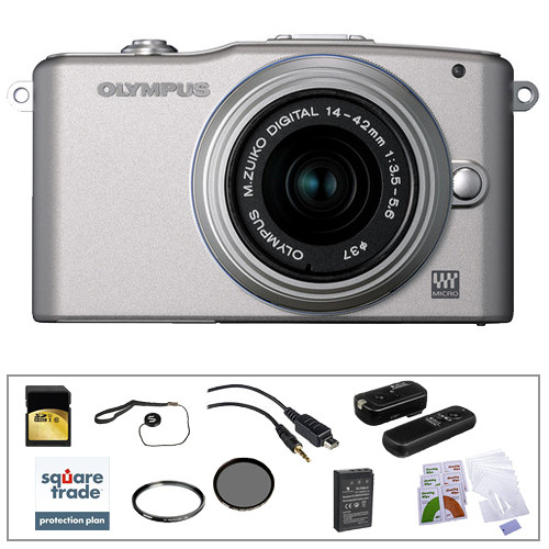 Olympus E-PM1 Mirrorless Micro Four Thirds Digital Camera Kit with 14-42mm f/3.5 - 5.6 II Lens and Deluxe Accessories (Silver)