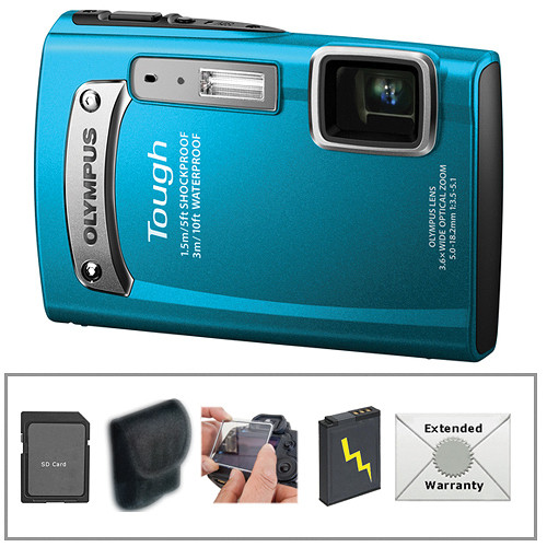 Olympus TG-320 Tough Digital Camera (Blue) with Deluxe Accessory Kit