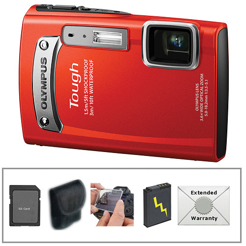 Olympus TG-320 Tough Digital Camera (Red) with Deluxe Accessory Kit