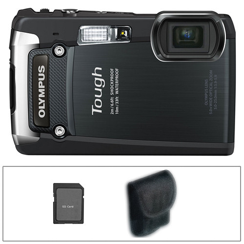 Olympus Tough TG-820 Digital Camera (Black) with Basic Accessory Kit