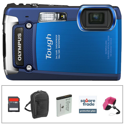 Olympus Tough TG-820 Digital Camera (Blue) with Deluxe Accessory Kit